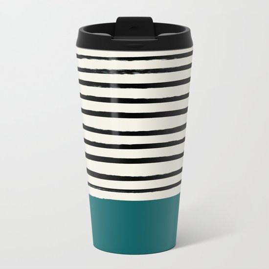Dark Turquoise & Stripes Metal Travel Mug