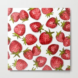 Watercolor Strawberries Metal Print