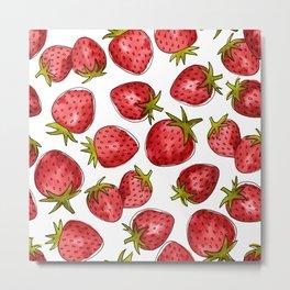 Watercolor Strawberries Metal Print