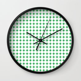 Green & white circles pattern 01 Wall Clock