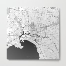 Melbourne City Map Gray Metal Print
