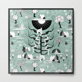 The six princesses (Celadon) Metal Print
