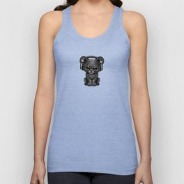 Cute Black Panther Cub Dj Wearing Headphones on Blue Unisex Tank Top