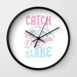 Bass Fishing Fisherwoman Fisher Catch This Momma At Lake Wall Clock