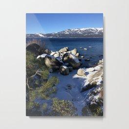 Lake Tahoe, Winter,  Blue, water, snow, sky, green, white, Cristmas, New Year Metal Print