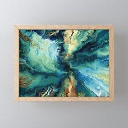 Marbled Ocean Abstract, Navy, Blue, Teal, Green Framed Mini Art Print