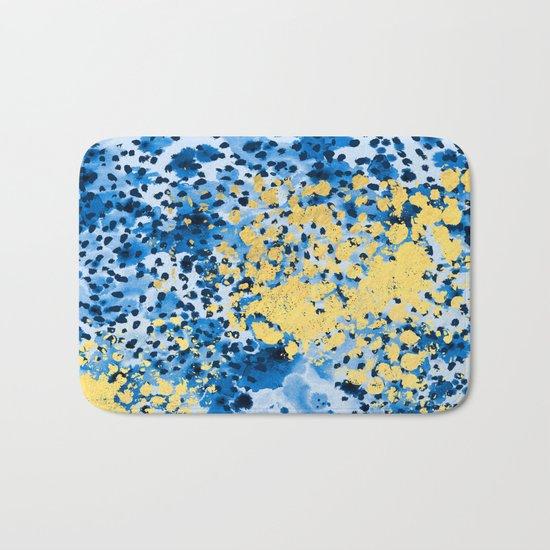 Nell - abstract gold indigo blue painting free spirit hipster boho college dorm modern minimalism  Bath Mat