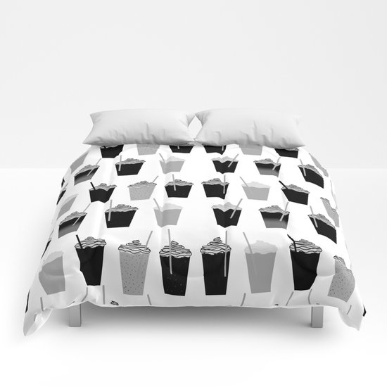 Coffees - black and white iced coffee pattern print cafe mocha chocolate dessert sugar sweet minimal Comforters