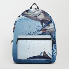 blue fish splatter//wave water splash Backpack