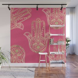 Neon pink faux gold inspirational Hamsa hand of Fatima Wall Mural
