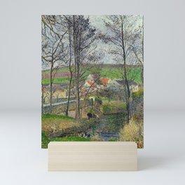 """Camille Pissarro """"The banks of the Viosne at Osny in grey weather, winter (Bords de la Viosne à Osny Mini Art Print"""