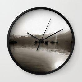 Gulets In Greyscale Wall Clock