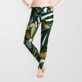 Tropical Butterfly Jungle Leaves Pattern #3 #tropical #decor #art #society6 Leggings