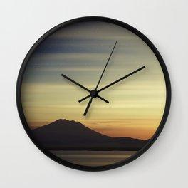 Volcano at Dawn Wall Clock