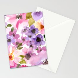 Pink Purple Watercolor Flowers Stationery Cards
