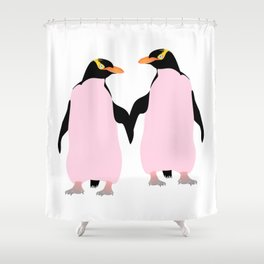 Gay Pride Lesbian Penguins Holding Hands Shower Curtain