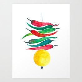 Lemon chilli charm Art Print