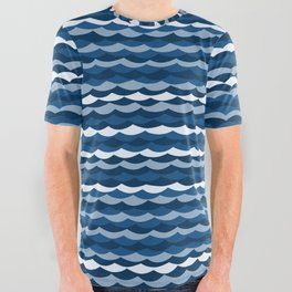 Classic Blue Wave Pattern All Over Graphic Tee