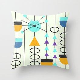 Kitty mid-century decor Throw Pillow