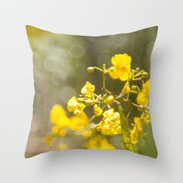 Popcorn Flower Bokeh Delight Throw Pillow