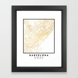 BARCELONA SPAIN CITY STREET MAP ART Framed Art Print