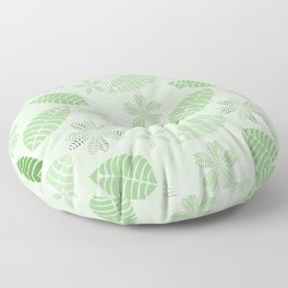 Tropical Green Leaf Floral Pattern Floor Pillow