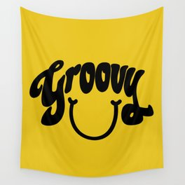 Groovy Smile // Black Smiley Face Fun Retro 70s Hippie Vibes Mustard Yellow Lettering Typography Art Wall Tapestry