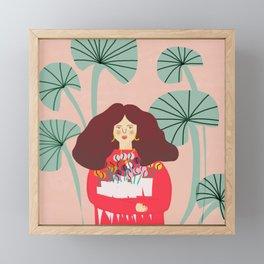 Girl holding flower shopping  Framed Mini Art Print