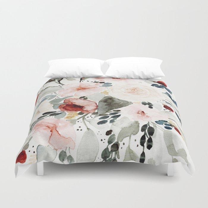 Loose Watercolor Bouquet Bettbezug