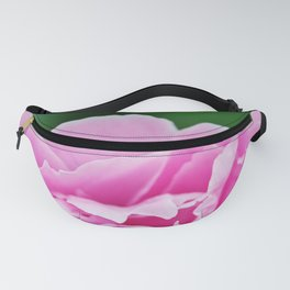 Pink peony on emerald green Fanny Pack