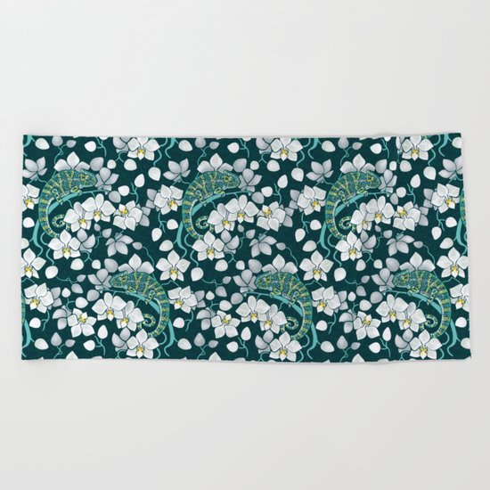 Chameleons and orchids Beach Towel