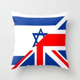 half united kingdom great britain half israel flag british Hebrew language dictionary Throw Pillow