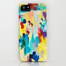DONT QUOTE ME Whimsical Rainbow Ikat Chevron Abstract Acrylic Painting Magenta Plum Turquoise Gift iPhone (5, 5s) Slim Case
