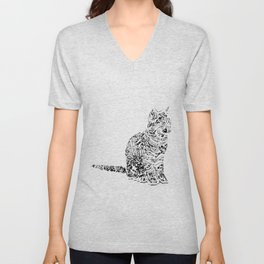 Abstract cats Unisex V-Neck