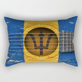 Old Vintage Acoustic Guitar with Barbados Flag Rectangular Pillow