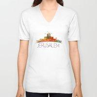 israel V-neck T-shirts featuring israel by mark ashkenazi