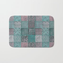 Nostalgic Patchwork Pattern Teal And Pink Bath Mat