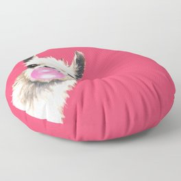 Bubble Gum Sneaky Llama in Red Floor Pillow
