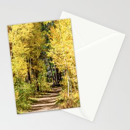 Yellow Tree Road // Hiking in the Forest Deep Into Autumn Colorful Trees Stationery Cards