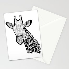 Curious Giraffe Zentangle (abstract doodle) Stationery Cards