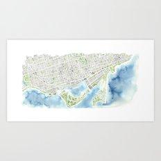 Toronto Canada Watercolor city map Art Print