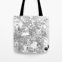 berlin Tote Bags featuring BERLIN by Maps Factory