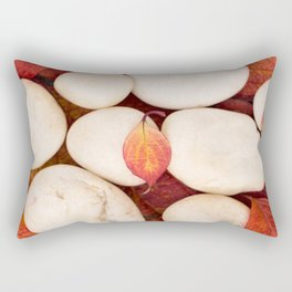 Autumn Still Life - White Stones Red Leaves #decor #society6 #buyart Rectangular Pillow