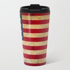 Vintage American Flag Metal Travel Mug