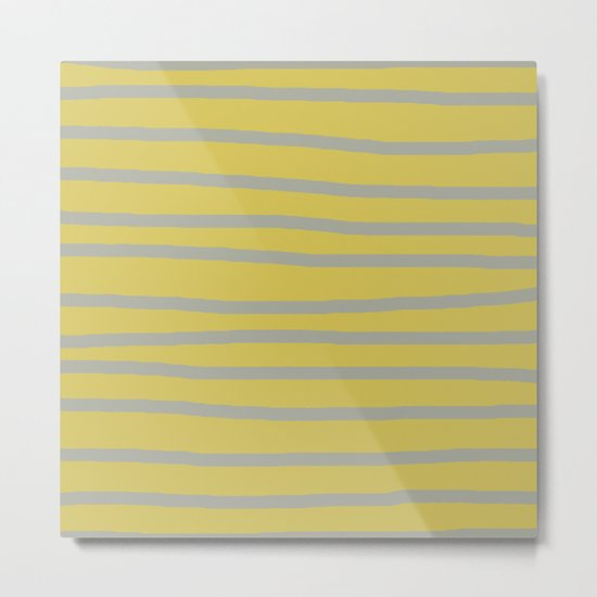 Simply Drawn Stripes Retro Gray on Mod Yellow Metal Print