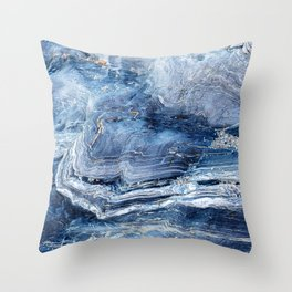 """Travel & nature photography """"details of a rock in blue colors. Abstract fine art mineral print.  Throw Pillow"""