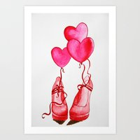 Pink shoes Art Print