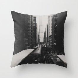 "Chicago South Loop ""L train"" photograph Throw Pillow"
