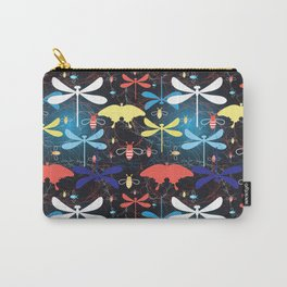 Beautiful graphic pattern different insects against a dark background Carry-All Pouch
