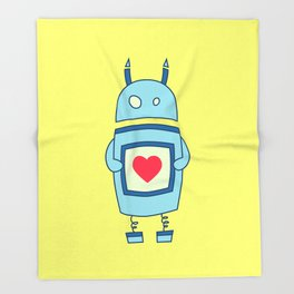 Cute Clumsy Robot With Heart Throw Blanket